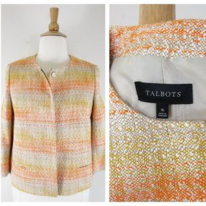 Talbots Plus Size Gold Orange Knit Tweed Blazer 16